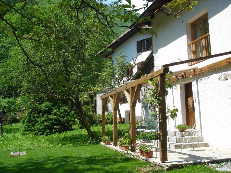 Terrace - 2 bedroom stone cottage in emerald Soca Valley - Tolmin - rentals