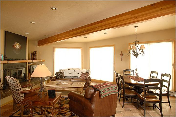 Fireplace in the Living Room (Representative Unit) - Elegant Slopeside Living - Recently Renovated Complex (1153) - Crested Butte - rentals