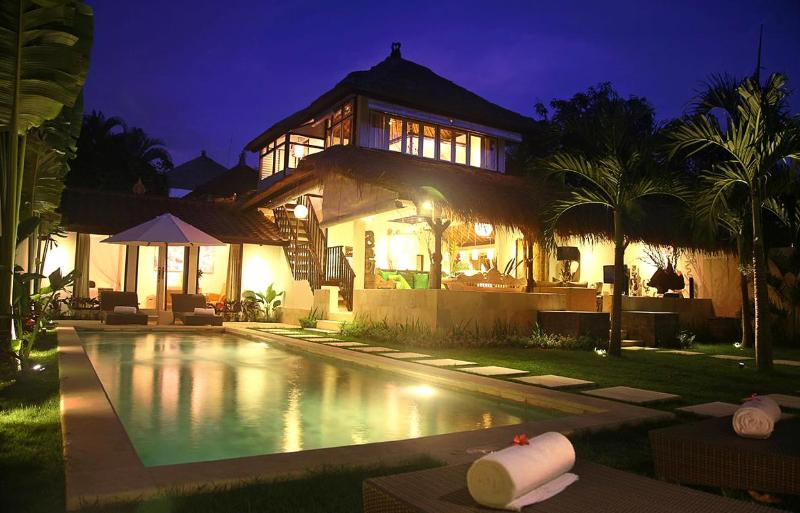 Villa E2 - View from the Pool at Night Time - Heart of Seminyak, 5 Bedrooms, 2 Pools! Awesome! - Kuta - rentals