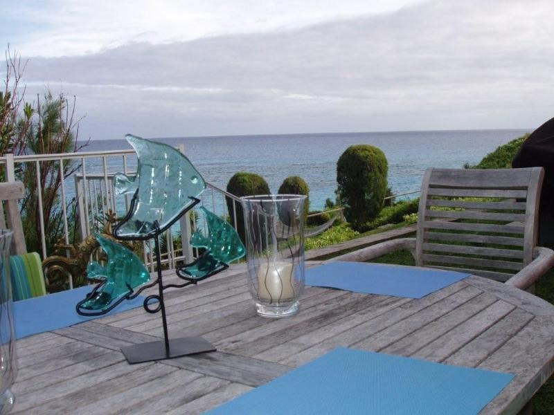 Patio dining overlooking South Shore and Marley - Sand Dollar - Beachfront Cottage at Marley Beach! - Warwick - rentals