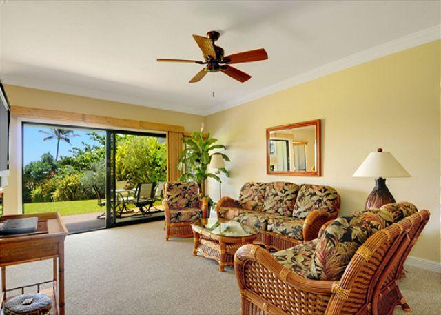 Living Room - Poipu Sands #111: Oversized lanai overlooking famous Shipwrecks beach - Koloa - rentals