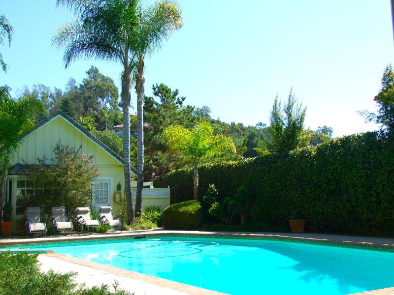 Looking from Master Suite across 15 x 40 ft pool plus spa to Guest House - Fallbrook Luxury, w/Pool, Golf Views + Guesthouse - Fallbrook - rentals