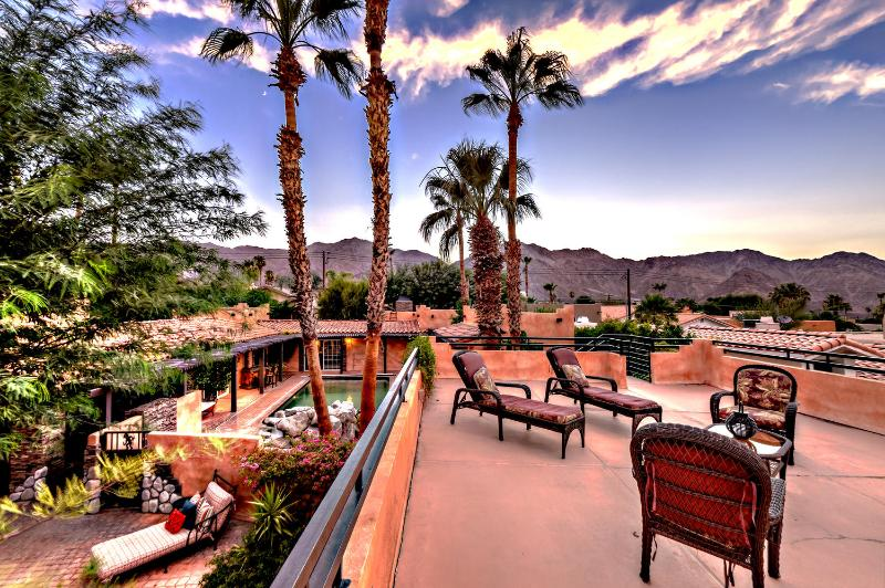 Rooftop views at Dusk - Unique Spanish Luxury Oasis; Spa Poolside Cabana! - La Quinta - rentals