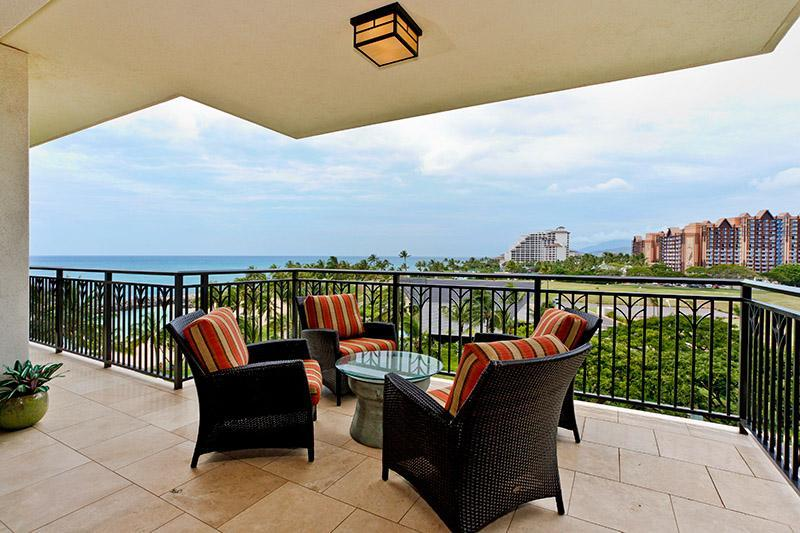 Lanai with comfortable seating and gorgeous view - Beach Tower 2 bdrm Ko Olina Resort Beach Villa - Kapolei - rentals