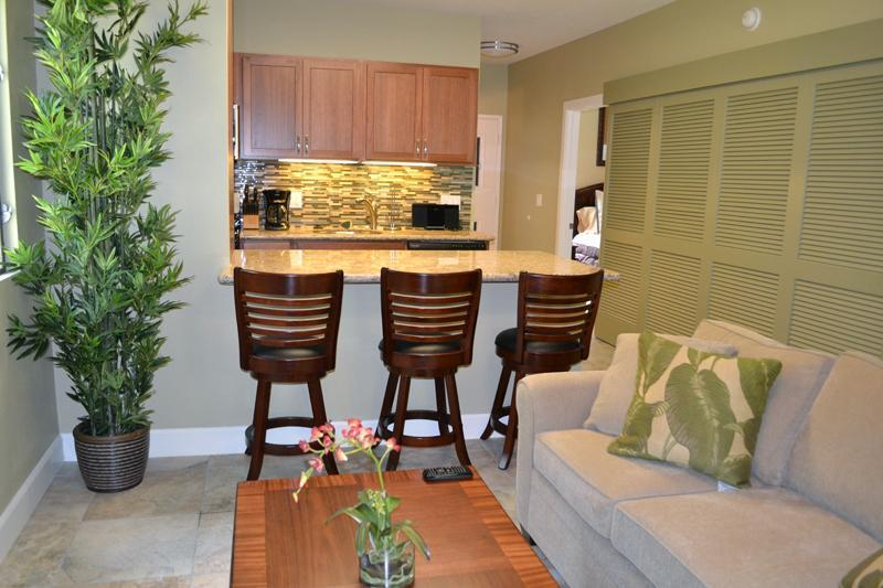 Living area with view of the new kitchen! - New Remodeled Oceanfront Complex 2 bedroom condo! - Lahaina - rentals