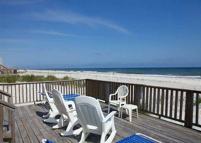View of Beach From Lower Deck - Change of Pace - Sept and Oct Openings - Large Groups Welcome - Gulf Shores - rentals