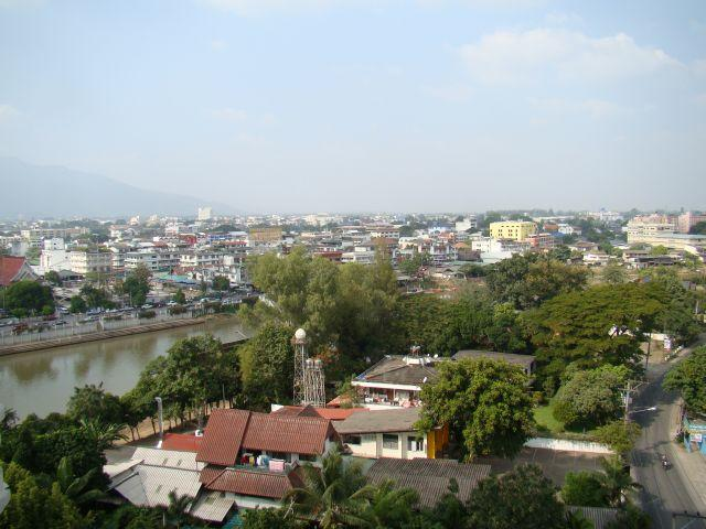 View toward the river and the wholesale market. - River Ping Balcony Condo 2brm/2bthrm US$1090/mth - Chiang Mai - rentals