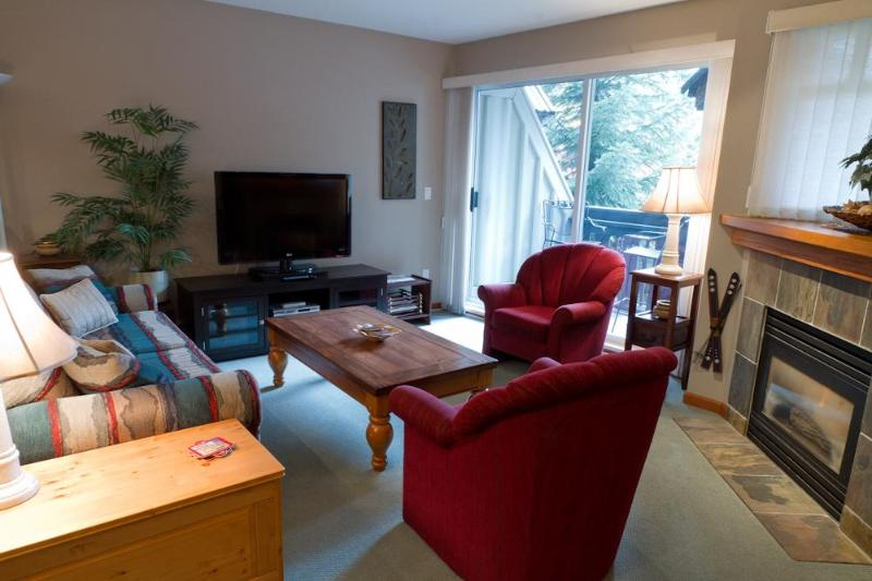 Living room with fabulous views of Whistler Blackcomb - Lagoons 43  2 bedroom condo with magnificent views - Whistler - rentals