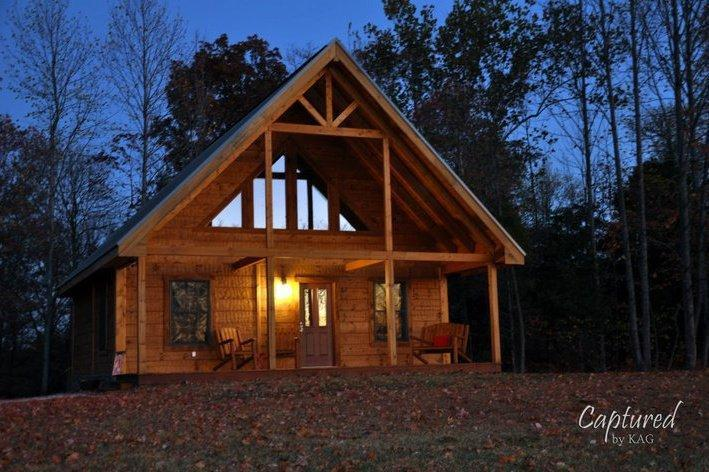 At dusk in the fall - Beautiful log cabin on 7.5 acres, French Lick, IN - French Lick - rentals