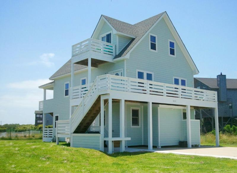 Front View of Home Featuring Expansive Furnished Decks and Ocean Views - 5BR, Ocean Views, Luxury & Oceanfront Pool Access! - Buxton - rentals