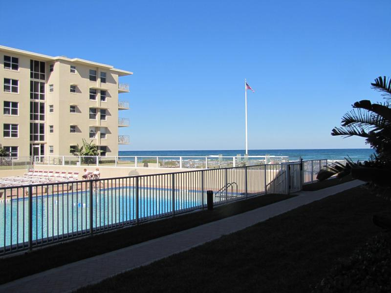 Ocean/Poolside View From Patio - Beach View/Poolside 2 Bed/2 Bath First Floor Condo - New Smyrna Beach - rentals