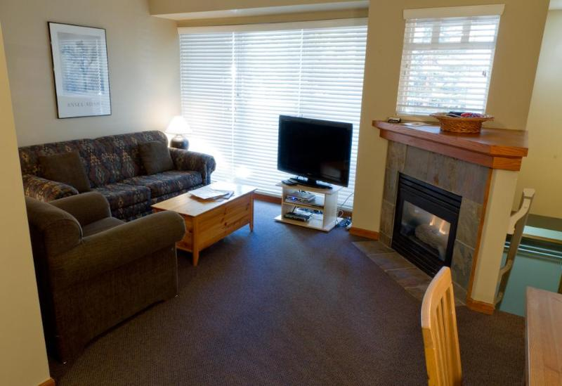Features flat screen TV, gas fireplace, sofa and comfy chairs, deck with BBQ - Sunpath 28 a 2 bdrm pet-friendly condo in Whistler - Whistler - rentals