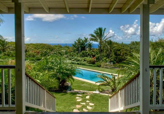 Looking from the covered deck down to the pool - Featured in Coastal Living-pool, view PERMITTED - Haiku - rentals