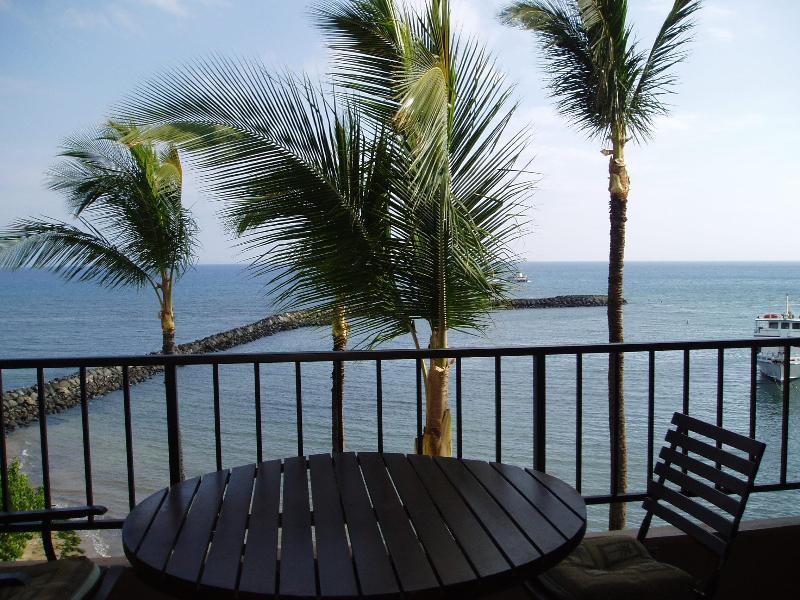 View from Pravate Lanai - Oceanfront Condo on Beach & Marina -Panoramic View - Maalaea - rentals