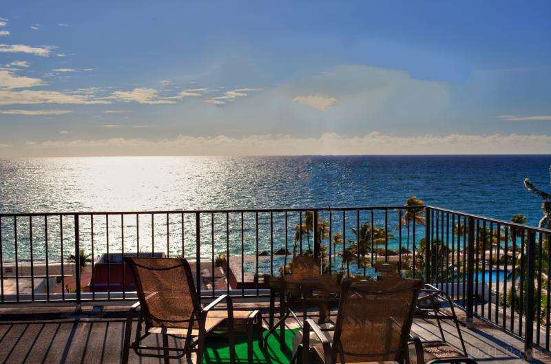Life is Good! View from our terrace. - Near Port Lucaya Oceanfront 2 Bed/ Beautiful Beach - Lucaya - rentals