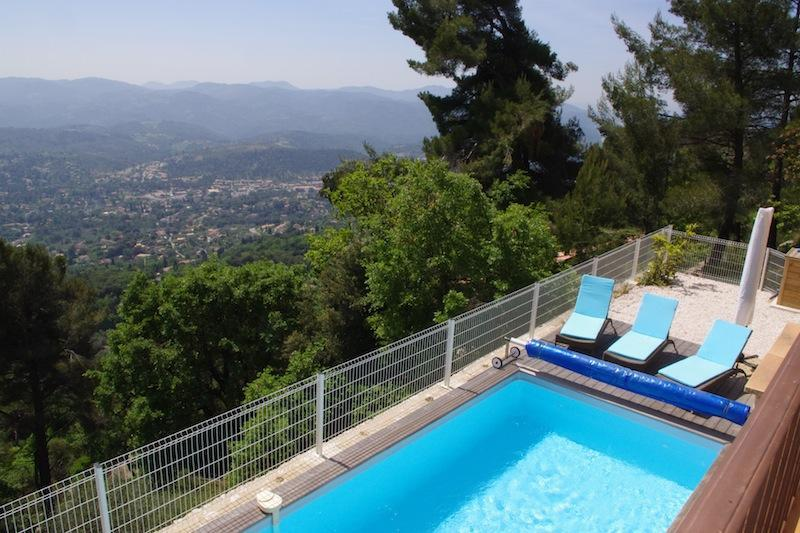 View of pool from terrace - Modern Stone villa in South of France - Cabris - rentals
