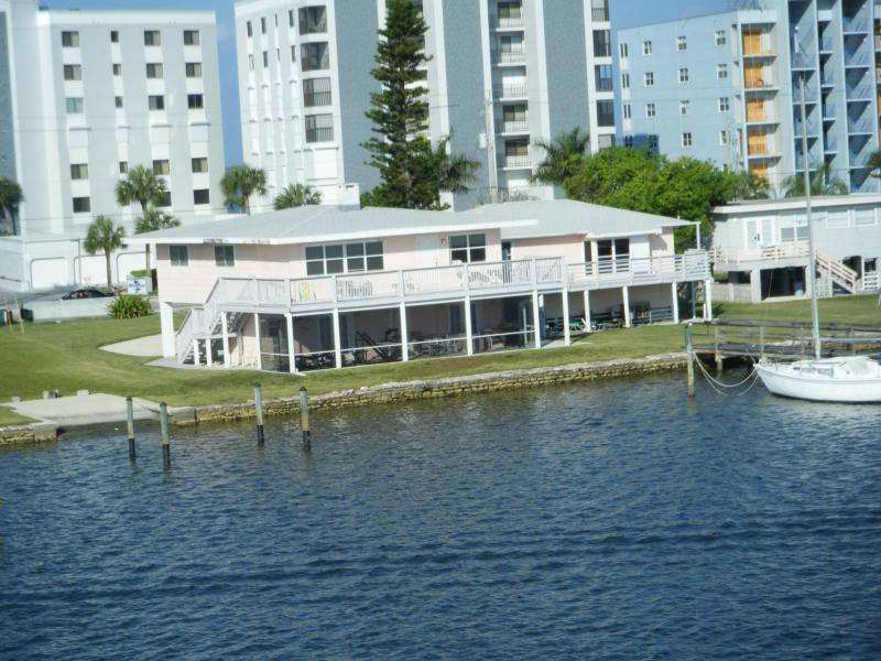 View of property as seen from passing ship in Estero Bay - Historic Beach Cottage on Beautiful Estero Bay - Fort Myers Beach - rentals