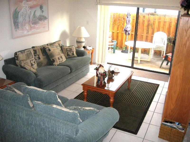 Large living room adjacent to garden/patio. - Steps from White Sands of Siesta Beach-Best Beach - Sarasota - rentals