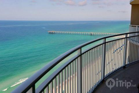 Amazing View from your private balcony of Pier and Gulf of Mexico - Luxury Beachfront 3 Bedroom Condo at Aqua - Panama City Beach - rentals