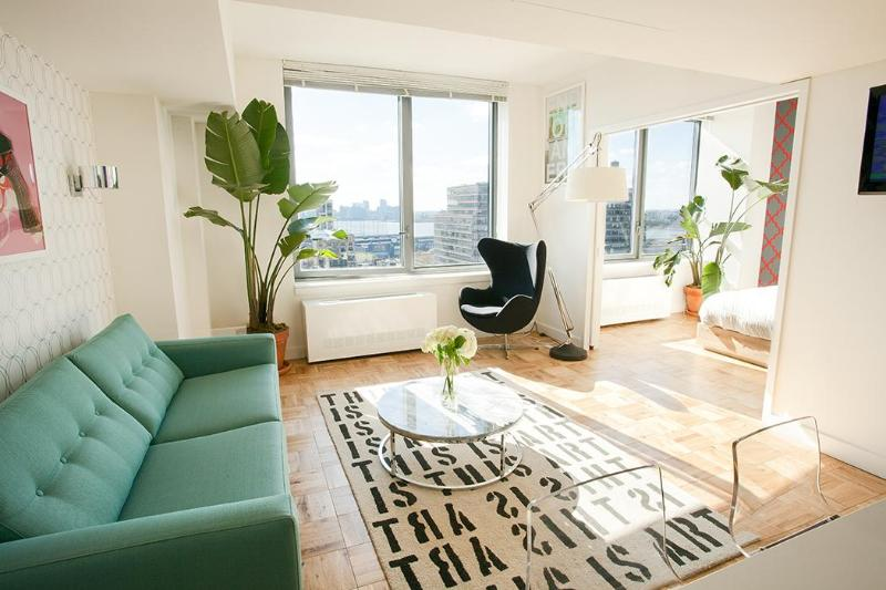 Main Living Space - Luxury Chelsea 1-Bedroom with Panoramic Views - New York City - rentals