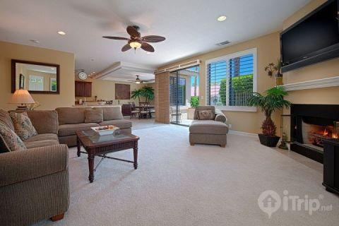 Living Room - This One Has It All  ***18th Fairway South Facing Patio Steps to Pool - Palm Desert - rentals