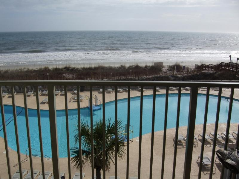 View from balcony - Direct Oceanfront 1 Bedroom Condo with Pool, Tennis Court, Hot Tub - Myrtle Beach - rentals