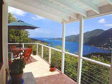 Porch with view to South East on Coral harbor - Adventure Villa - 3 bed 2 bath, hot tub, best deal - Coral Bay - rentals