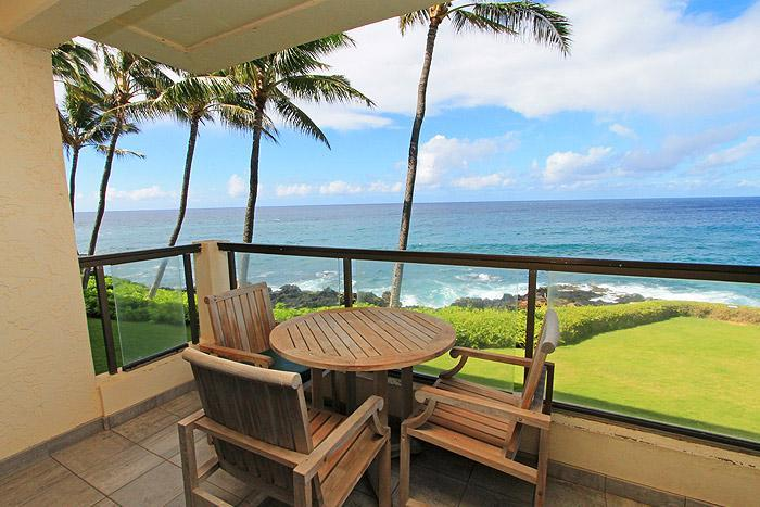 View from Lanai - 2BR Oceanfront Poipu Shore Condo/Kitchen/WiFi 204A - Poipu - rentals