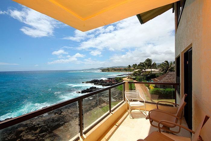 Lanai - 2BR Poipu Oceanfront Condo, Kitchen, WiFi, 307A - Poipu - rentals