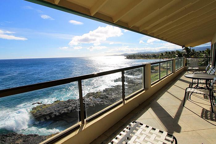 Lanai - Oceanfront Poipu Penthouse, Kitchen, WiFi 406A - Poipu - rentals