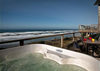 Hot tub view - Blue Dolphin -Oceanfront w/ Hot Tub - Lincoln City - rentals