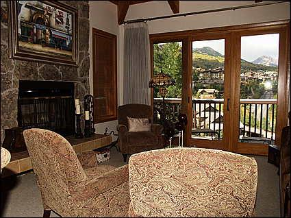 Living Room with Wood Burning Fireplace - Best View in Valley! - Ridge Condominiums (2165) - Snowmass Village - rentals