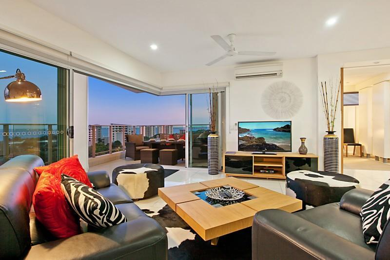 Beautifully furnished lounge area through to Balcony - Beachlife Sands Luxury Condo, Sleeps up to 8 - Darwin - rentals