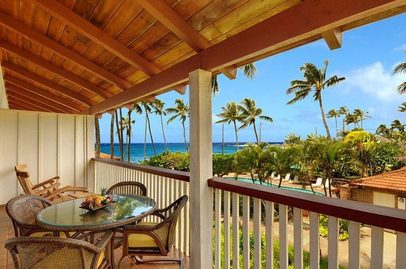 Take in the breathtaking ocean and sunset views from this front lanai - Stunning Ocean View Poipu Beach Villa #203 - Poipu - rentals