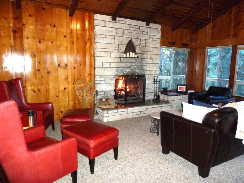 Great Room - Living Area - Firewood Included!!! - Dragon Cabin 1/2Acre Private Beach Pass Kayak View - Lake Arrowhead - rentals