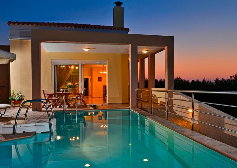 Night photo of Villa Zafira - 3 bedroom lux villa in Rethymno, Crete-Greece - Rethymnon - rentals