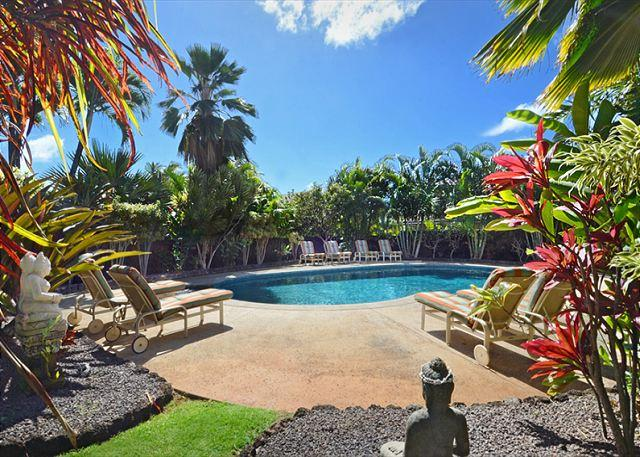 Exquisite, private, peaceful lagoon heated pool with spa and lav - 4 bedroom suites, a/c, pool, spa, ocean views, short walk to Poipu's beaches - Koloa - rentals