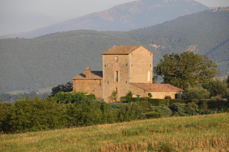 View of the villa from the hills - Umbrian Villa - La Palazzaccia - Umbertide - rentals