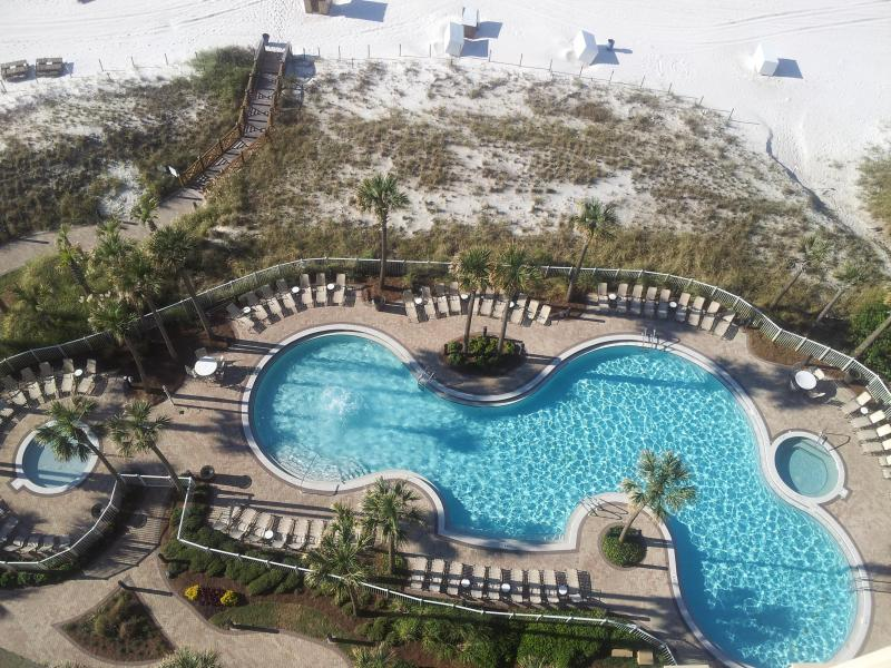 View of pool from our balcony - Luxurious Beachfront 3 Bedroom with Pool and Beach Chair Service - Panama City Beach - rentals