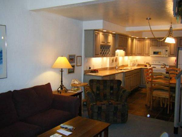Living Room Includes a Sleeper Sofa and Opens to the Kitchen - Comfortable Condo with Great Views - Close to the Winter Shuttle & Hiking Trails (1265) - Crested Butte - rentals