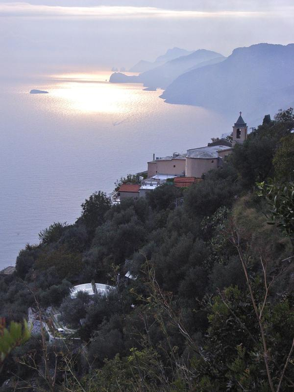 Roof and terrace of the Secret Garden at lower left - Home for 2 overlooking spectacular Amalfi Coast - Positano - rentals