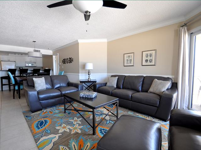 Large living room with brand new furniture, looking out at the beach! - Villas of Clearwater 2 Bedroom Available 4th July! - Clearwater - rentals