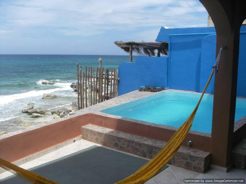 Main Pool Level facing east over the Caribbean - Casa Roca Caribe: Completely Relaxing Ocean Front - Isla Mujeres - rentals