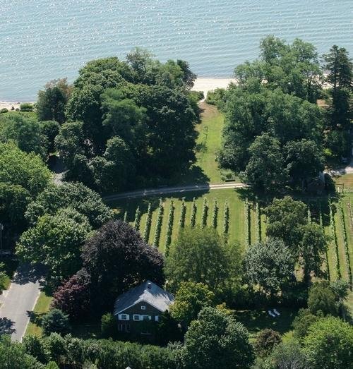 Aerial view of the Old Bay Home farmhouse and beach - Historic Vineyard Farmhouse with private beach - Southold - rentals