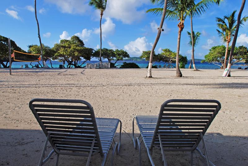 View from the patio area of the unit - Beach front studio Apt.-lovely white sandy beach - Saint Thomas - rentals