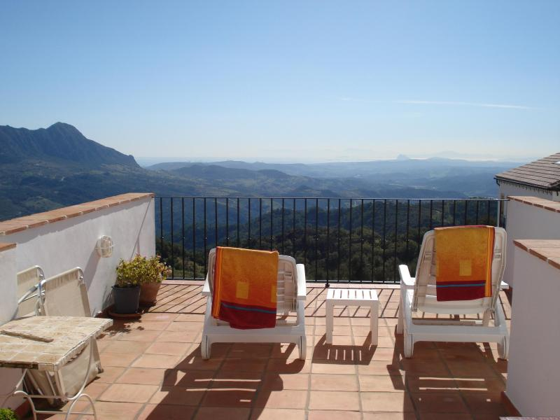 Sun terrace looking out to Straits, Gibraltar and Morocco - Luxury apartment for rent in the Village of Gaucin - Gaucin - rentals