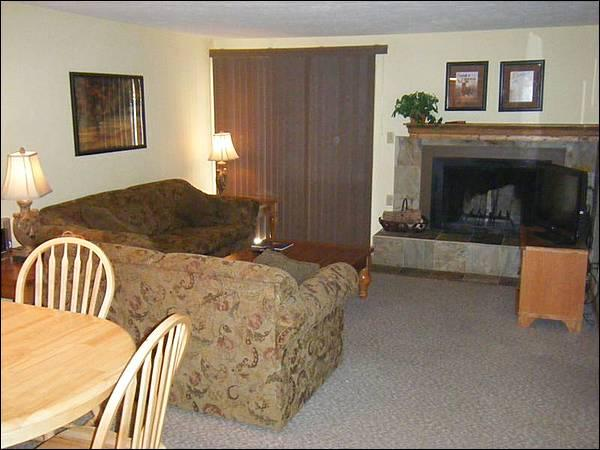 Living Room Includes a Wood-Burning Fireplace and Flat-Screen TV - Cozy Condo - Great for Small Families - Hillside Views (1250) - Crested Butte - rentals