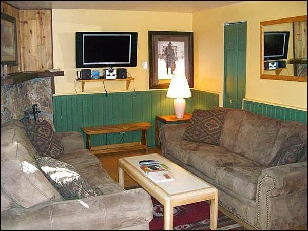 Flat-Screen TV and Sleeper Sofa in the Living Room - Wonderful Family Vacation Condo - Mountain Views from the Balcony (1337) - Crested Butte - rentals