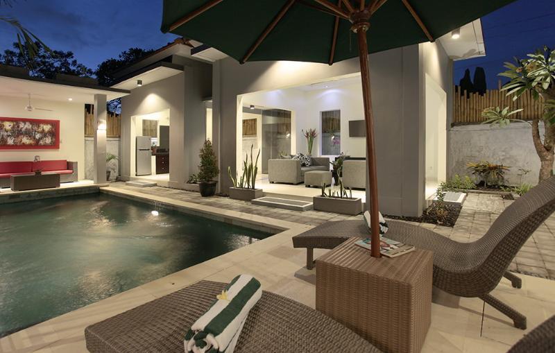 Living room n gazebo from sunbed area - Bahagia Villas, Private pool, Pool Fence - Sanur - rentals