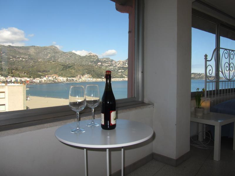 Panoramic view from the  living room - Beachfront superior 1-bedroom apartment Best views - Giardini Naxos - rentals